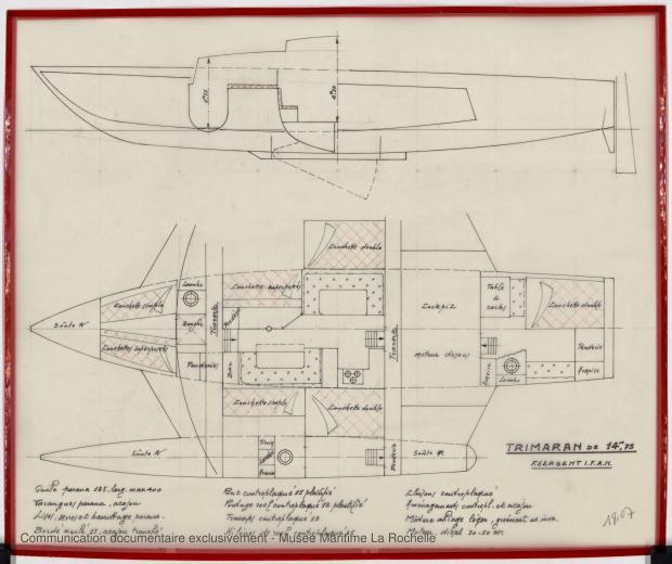 PLAN D'AMENAGEMENT  - TRIMARAN 14,75 M (1979)