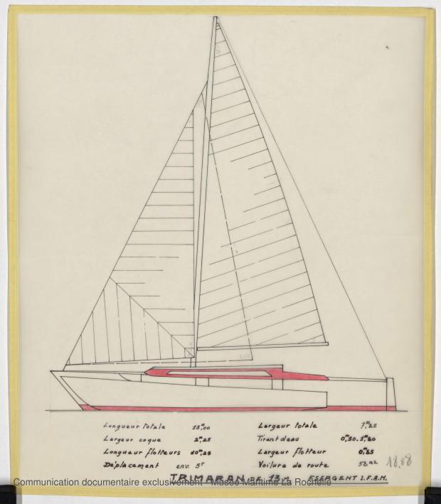 PLAN GENERAL - TRIMARAN 13 M (1979)