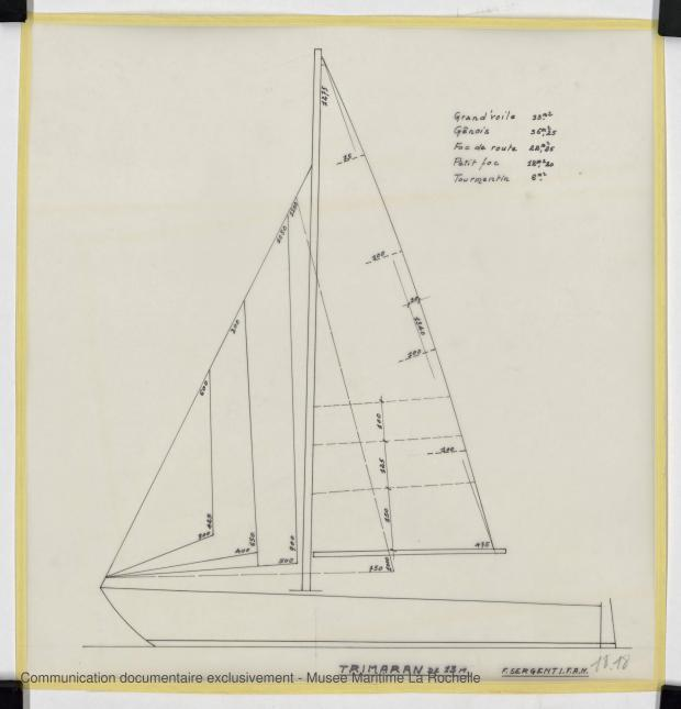 PLAN DE VOILURE/GREEMENT - TRIMARAN 13 M (1979)