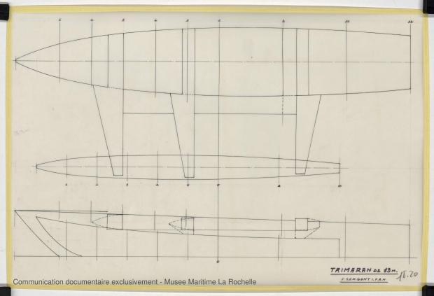 PLAN DE COQUE - TRIMARAN 13 M (1979)