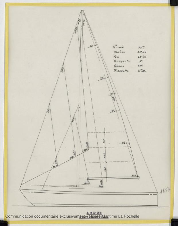 PLAN DE VOILURE/GREEMENT - WINDJAMMER II  San 40   (1980)