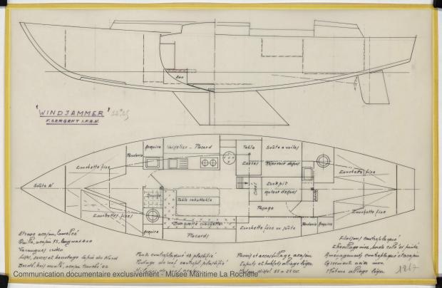 PLAN D'AMENAGEMENT  - WINDJAMMER  12,20 M (1962)