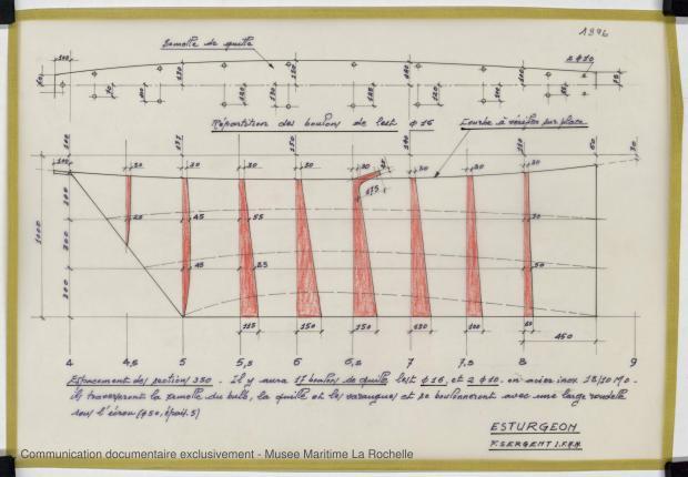PLAN DE DERIVE/QUILLE - ESTURGEON 10,50 M (1981)