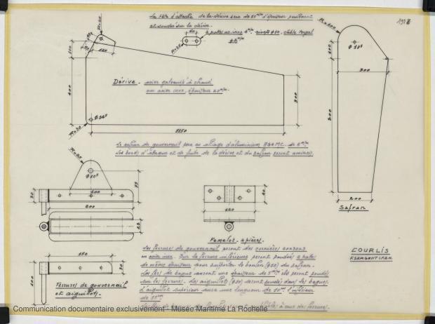 PLAN D'APPAREIL A GOUVERNER - COURLIS  5.50 M (1981)