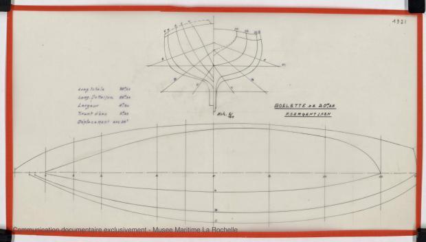 PLAN DE COQUE - GOELETTE 20,25 m (ETUDE) (1982)