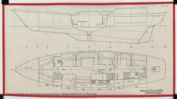 PLAN D'AMENAGEMENT - GOELETTE 20,25 m (ETUDE) (1982)