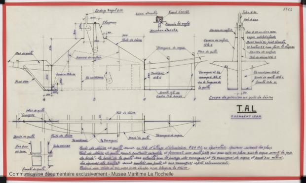 PLAN DE DERIVE/QUILLE - TONGA-TALI 10.50 M (1983)