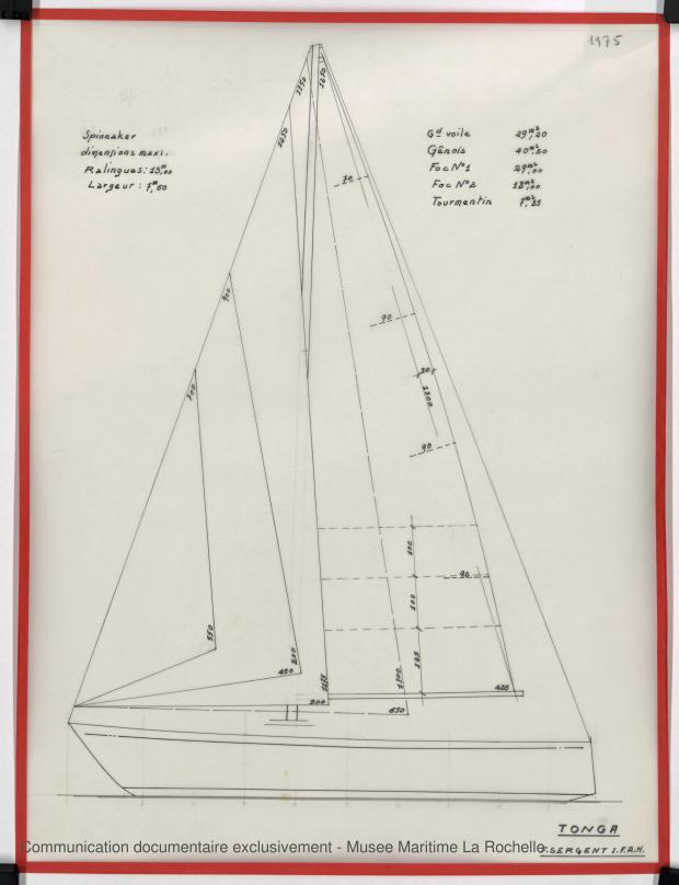PLAN DE VOILURE/GREEMENT - TONGA-TALI 10.50 M (1983)