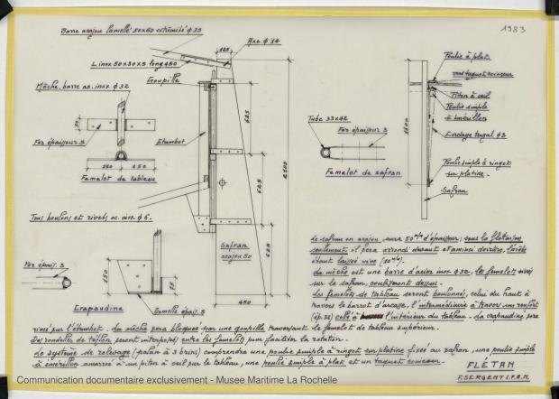 PLAN D'APPAREIL A GOUVERNER - FLETAN DERIVEUR 9 M (1984)