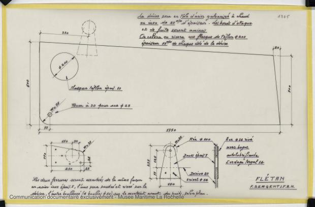 PLAN DE DERIVE/QUILLE - FLETAN DERIVEUR 9 M (1984)