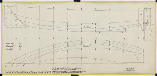 PLAN DE COQUE - FLETAN DERIVEUR 9 M (1984)