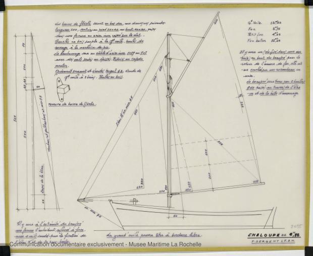 PLAN DE VOILURE/GREEMENT - CHALOUPE DE 6,75 M (1988)