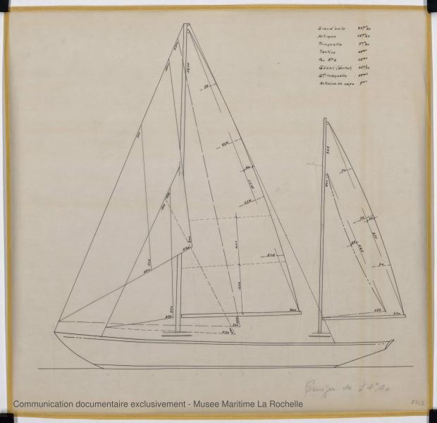 PLAN DE VOILURE/GREEMENT - Thalamus  Cruiser rapide 14,40 m (1963)