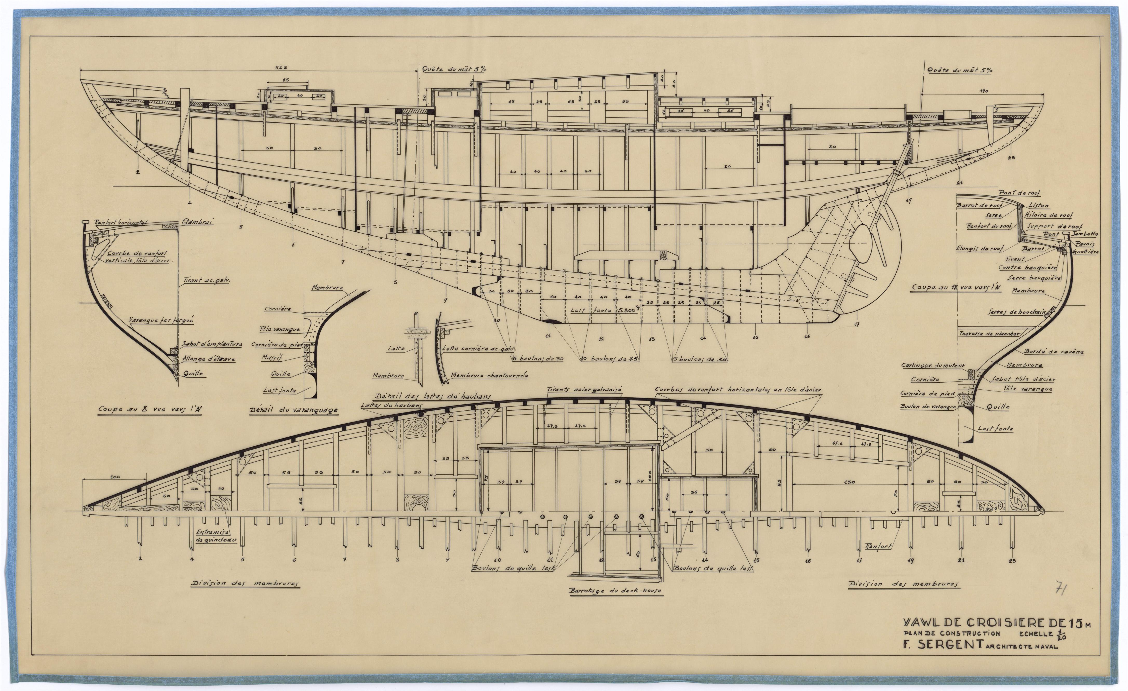 Yawl de croisiere de 15m 1947 mus e maritime de la for Plans de construction
