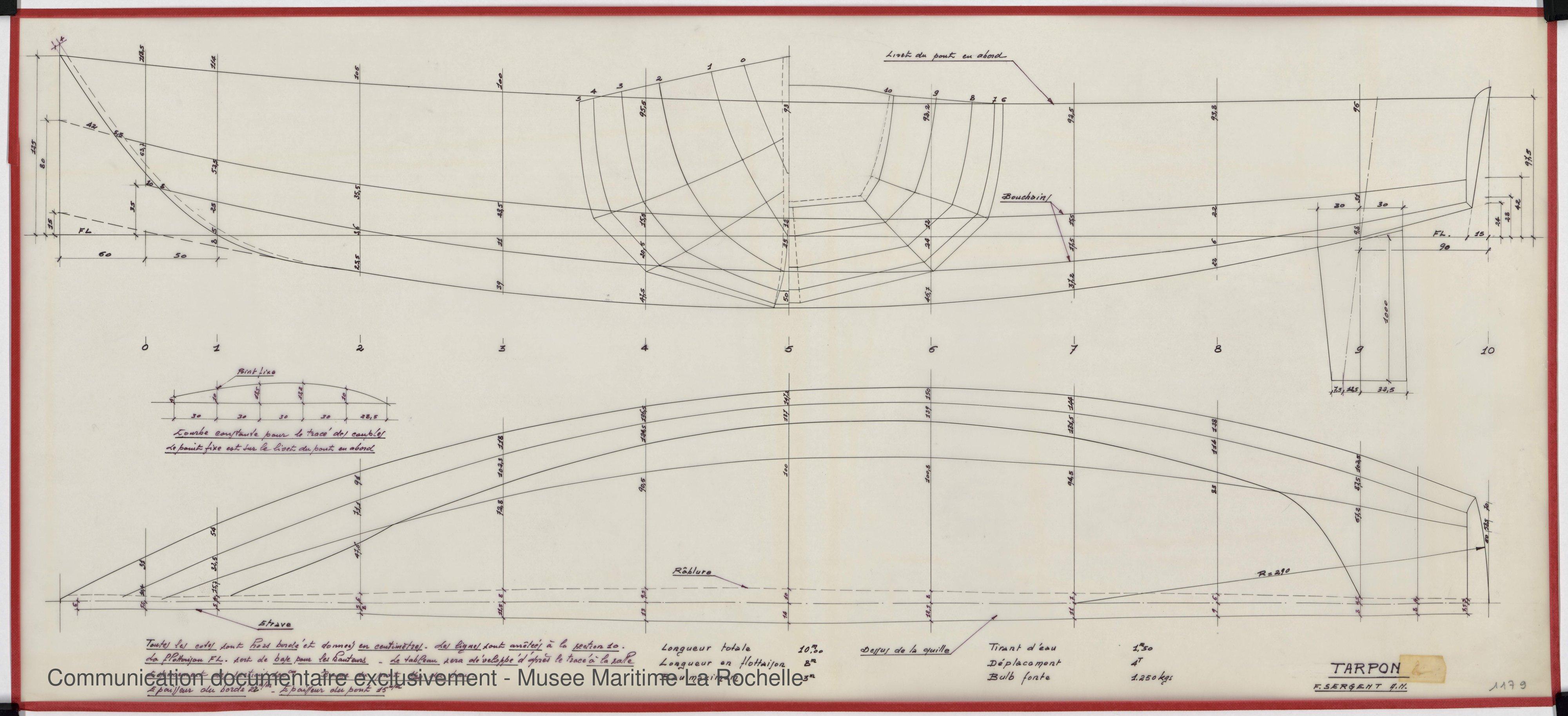 Tarpon (1969)  Musée Maritime de La Rochelle ~ Plan De Bateau En Bois