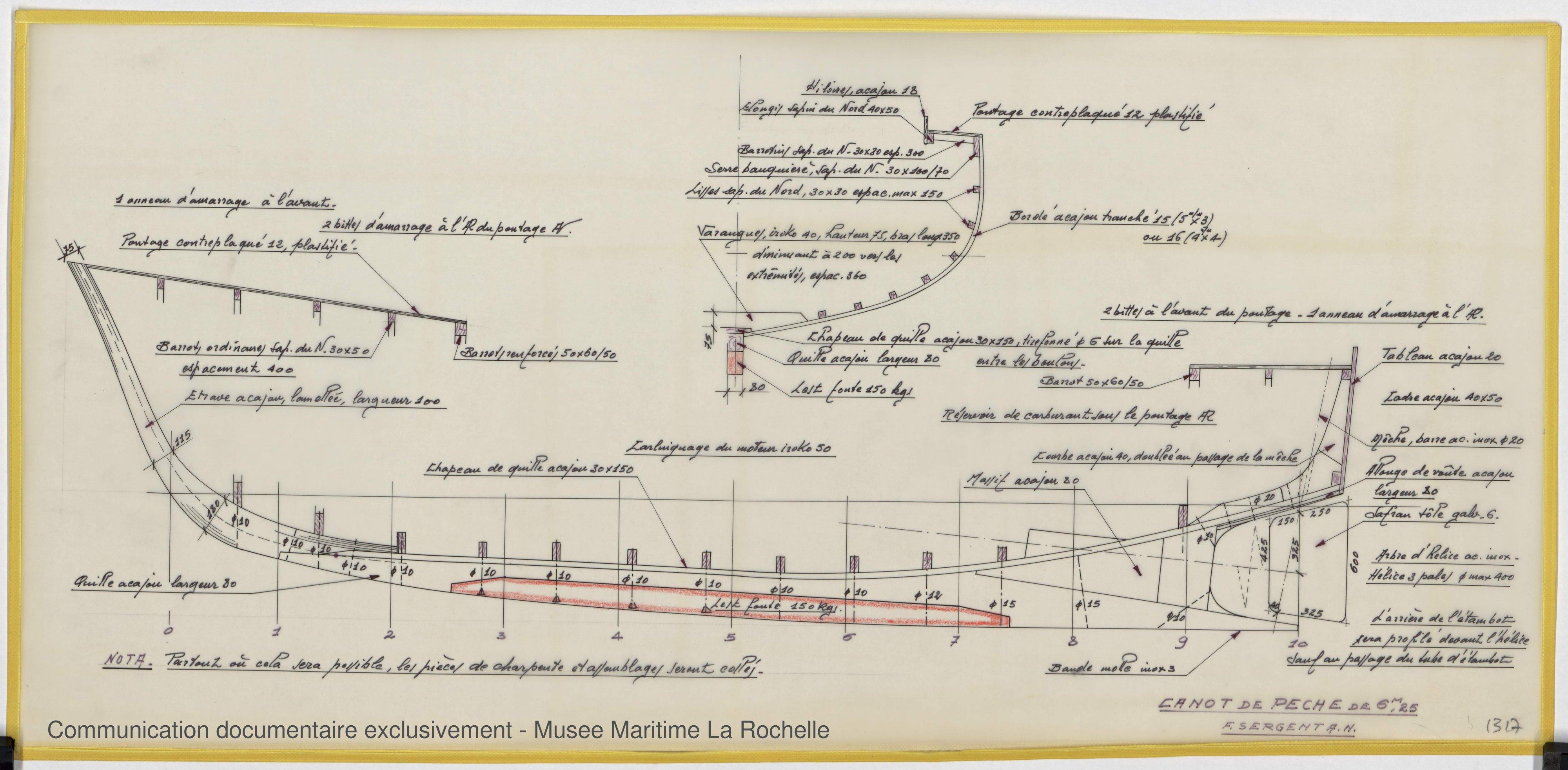 Canot de peche 6,25 m (1971)  Musée Maritime de La Rochelle ~ Plan De Bateau En Bois